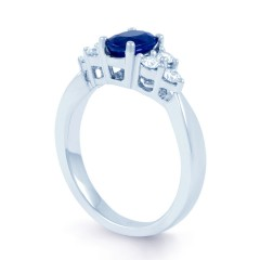 18ct White Gold Blue Sapphire & Diamond Vintage Engagement Ring 0.3ct 2.5mm image 1