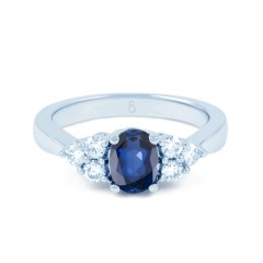 18ct White Gold Blue Sapphire & Diamond Vintage Engagement Ring 0.3ct 2.5mm image 0