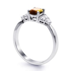 18ct White Gold Citrine & Diamond Vintage Engagement Ring 0.3ct 2.5mm image 1