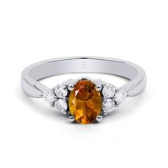 18ct White Gold Citrine & Diamond Vintage Engagement Ring 0.3ct 2.5mm image 0