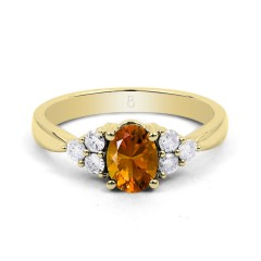 18ct Yellow Gold Citrine & Diamond Vintage Engagement Ring 0.3ct 2.5mm image 0