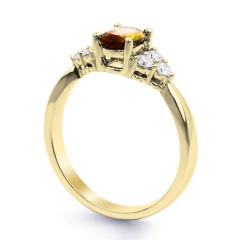 18ct Yellow Gold Citrine & Diamond Vintage Engagement Ring 0.3ct 2.5mm image 1