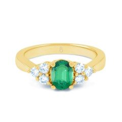 18ct Yellow Gold Emerald & Diamond Vintage Engagement Ring 0.3ct 2.5mm image 0