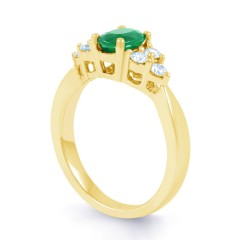 18ct Yellow Gold Emerald & Diamond Vintage Engagement Ring 0.3ct 2.5mm image 1