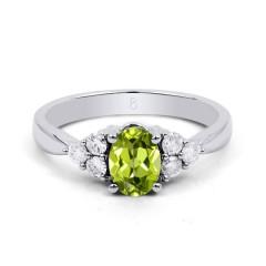 18ct White Gold Peridot & Diamond Vintage Engagement Ring 0.3ct 2.5mm image 0