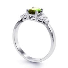 18ct White Gold Peridot & Diamond Vintage Engagement Ring 0.3ct 2.5mm image 1