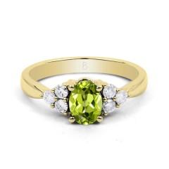 18ct Yellow Gold Peridot & Diamond Vintage Engagement Ring 0.3ct 2.5mm image 0