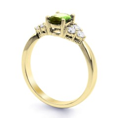 18ct Yellow Gold Peridot & Diamond Vintage Engagement Ring 0.3ct 2.5mm image 1