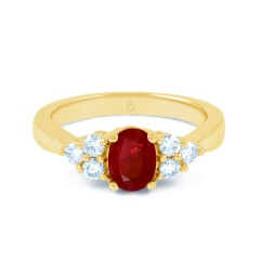 18ct Yellow Gold Ruby & Diamond Vintage Engagement Ring 0.3ct 2.5mm image 0