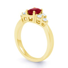 18ct Yellow Gold Ruby & Diamond Vintage Engagement Ring 0.3ct 2.5mm image 1