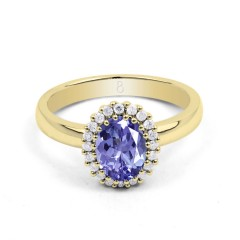 18ct Yellow Gold Tanzanite & Diamond Halo Engagement Ring 0.16ct 2.5mm image 0