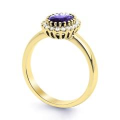 18ct Yellow Gold Tanzanite & Diamond Halo Engagement Ring 0.16ct 2.5mm image 1
