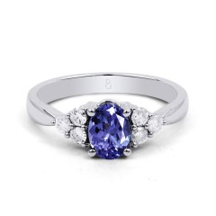 18ct White Gold Tanzanite & Diamond Vintage Engagement Ring 0.3ct 2.5mm image 0