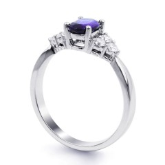 18ct White Gold Tanzanite & Diamond Vintage Engagement Ring 0.3ct 2.5mm image 1