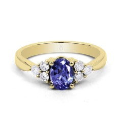 18ct Yellow Gold Tanzanite & Diamond Vintage Engagement Ring 0.3ct 2.5mm image 1