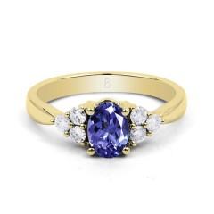 18ct Yellow Gold Tanzanite & Diamond Vintage Engagement Ring 0.3ct 2.5mm image 1