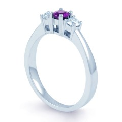 18ct White Gold Amethyst & Diamond 3 Stone Engagement Ring 0.2ct 2mm image 1