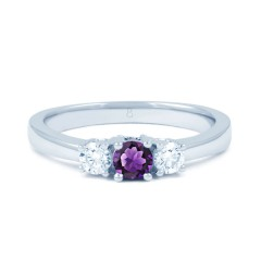 18ct White Gold Amethyst & Diamond 3 Stone Engagement Ring 0.2ct 2mm image 0