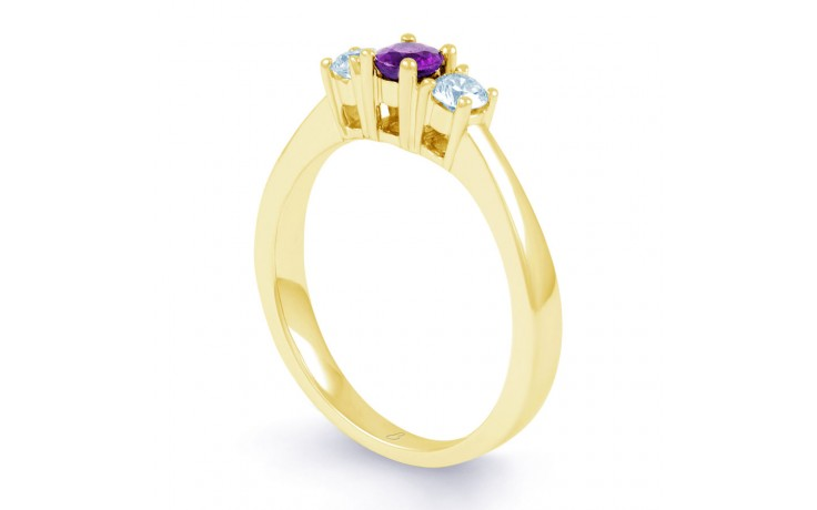Amethyst 3 Stone Gold Ring product image 2