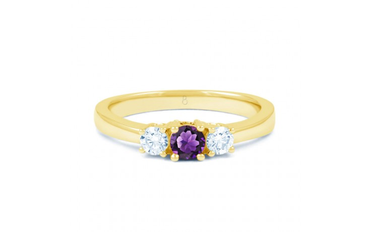 Amethyst 3 Stone Gold Ring product image 1