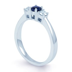 18ct White Gold Blue Sapphire & Diamond 3 Stone Engagement Ring 0.2ct 2mm image 1