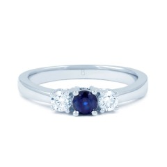 18ct White Gold Blue Sapphire & Diamond 3 Stone Engagement Ring 0.2ct 2mm image 0