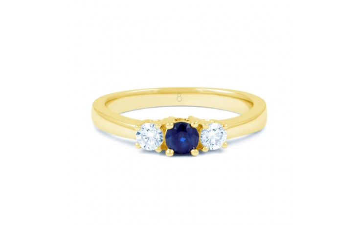 Amor Blue Sapphire 3 Stone Gold Ring product image 1