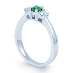 18ct White Gold Emerald & Diamond 3 Stone Engagement Ring 0.1ct 2mm image 1
