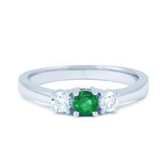 18ct White Gold Emerald & Diamond 3 Stone Engagement Ring 0.1ct 2mm image 0