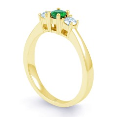 Amor 18ct Yellow Gold Emerald and Diamond 3 Stone Engagement Ring image 1