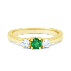 Amor 18ct Yellow Gold Emerald and Diamond 3 Stone Engagement Ring image 0