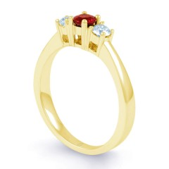 18ct Yellow Gold Ruby & Diamond Trilogy Engagement Ring 0.2ct 2mm image 1