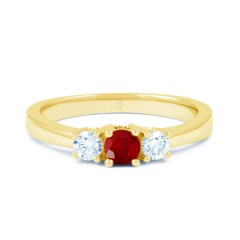 18ct Yellow Gold Ruby & Diamond Trilogy Engagement Ring 0.2ct 2mm image 0
