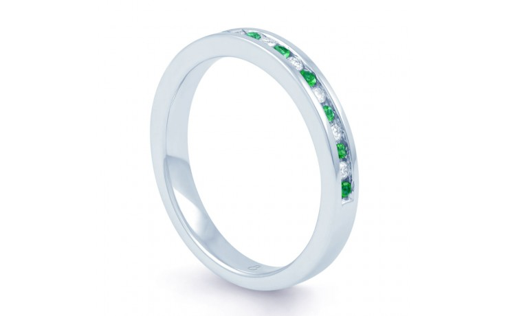 18ct White Gold Emerald & Diamond Eternity Ring 0.11ct 2.5mm product image 2