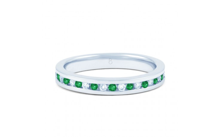 18ct White Gold Emerald & Diamond Eternity Ring 0.11ct 2.5mm product image 1