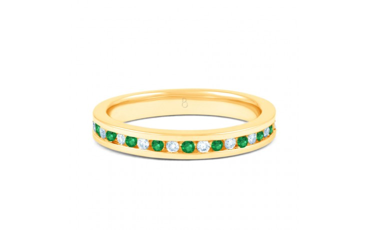 18ct Yellow Gold Emerald & Diamond Eternity Ring 0.11ct 2.5mm product image 1