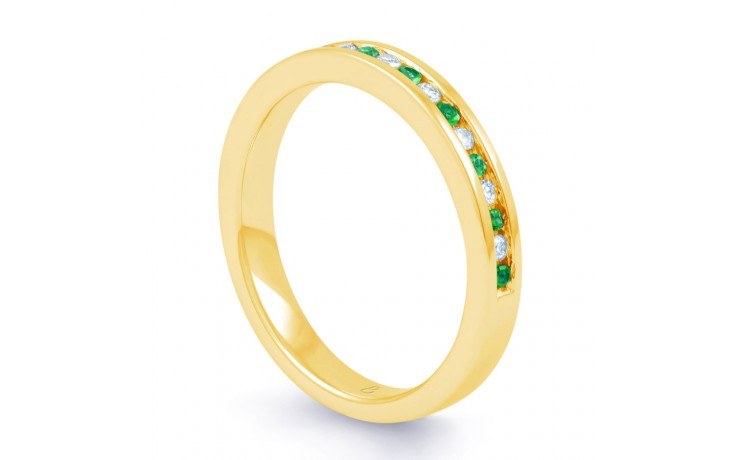 18ct Yellow Gold Emerald & Diamond Eternity Ring 0.11ct 2.5mm product image 2