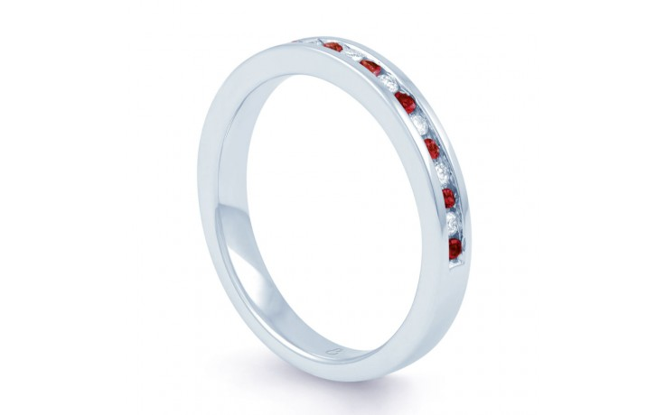18ct White Gold Ruby & Diamond Eternity Ring 0.11ct 2.5mm product image 2
