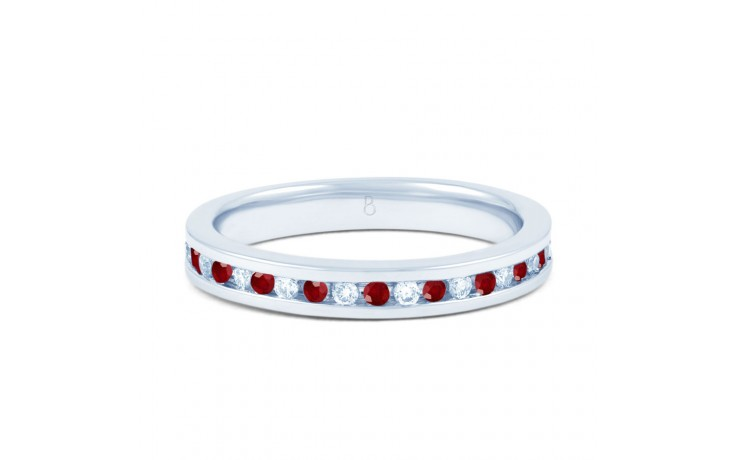 18ct White Gold Ruby & Diamond Eternity Ring 0.11ct 2.5mm product image 1