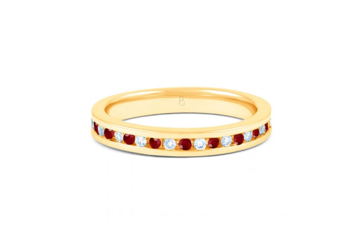 18ct Yellow Gold Ruby & Diamond Eternity Ring 0.11ct 2.5mm product image 1