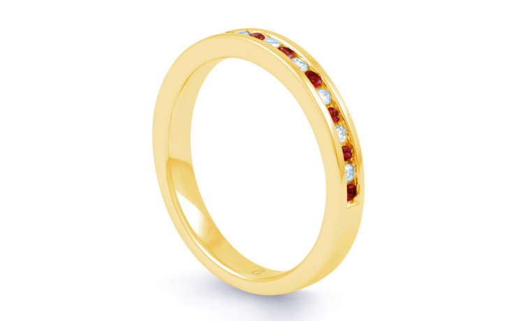 18ct Yellow Gold Ruby & Diamond Eternity Ring 0.11ct 2.5mm product image 2