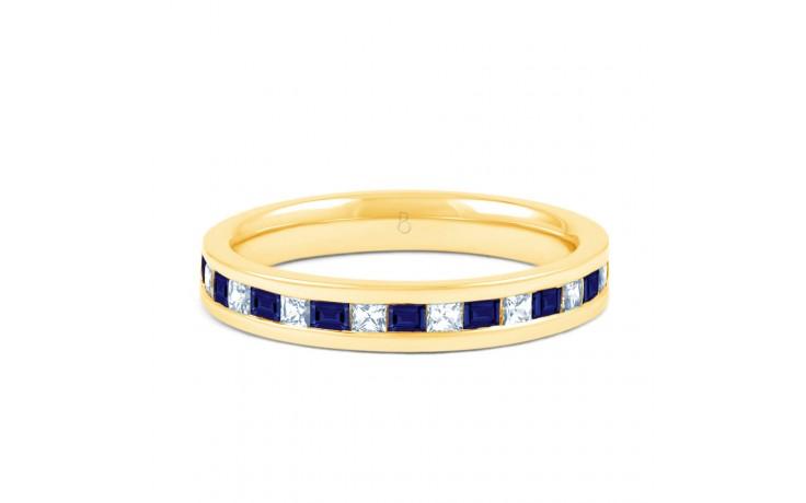18ct Yellow Gold Princess Blue Sapphire & Diamond Eternity Ring product image 1