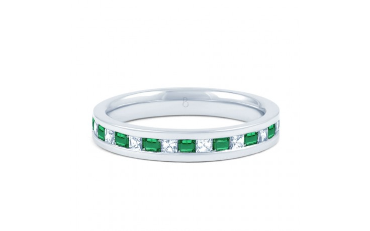 Emerald & Diamond Gemstone Eternity Ring 3mm product image 1