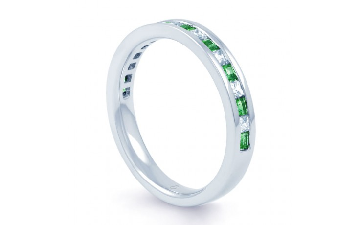 Emerald & Diamond Gemstone Eternity Ring 3mm product image 2