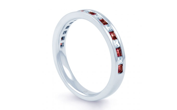 18ct White Gold Ruby & Diamond Princess Cut Eternity Ring 0.32ct 3mm product image 2