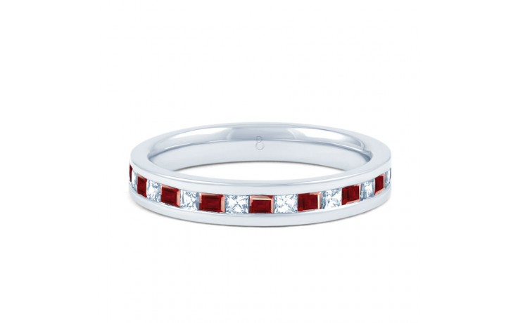 18ct White Gold Ruby & Diamond Princess Cut Eternity Ring 0.32ct 3mm product image 1