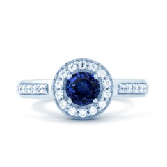 18ct White Gold Blue Sapphire & Diamond Halo Cluster Ring 0.26ct 2.5mm image 0