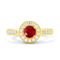 18ct Yellow Gold Ruby & Diamond Vintage Engagement Ring 0.26ct 2.5mm image 0
