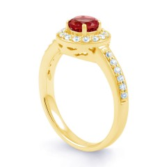 18ct Yellow Gold Ruby & Diamond Vintage Engagement Ring 0.26ct 2.5mm image 1