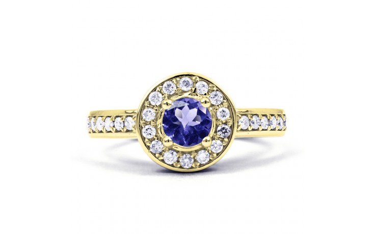 Vintage Tanzanite Gold Halo Ring  product image 1